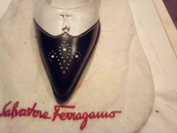 Ferragamo, pantofi noi, 38+, alb cu negru, dama femei, pret noi $580