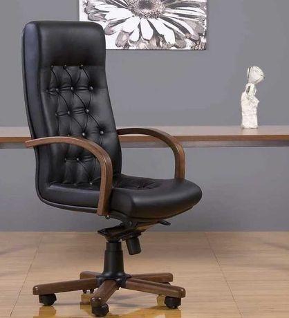 Кресло руководителя из натуральной кожи «Fidel extra», дерево, черное
