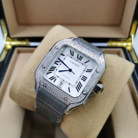 Cartier Santos 100 Full DIamond Grey