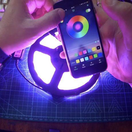 Умная USB светодиодная лента RGB 5-метров управляемая через телефон