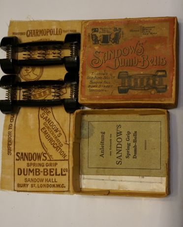 Gantere vechi 1900 Dumbells patent : Eugen Sandow's/ obiect rar
