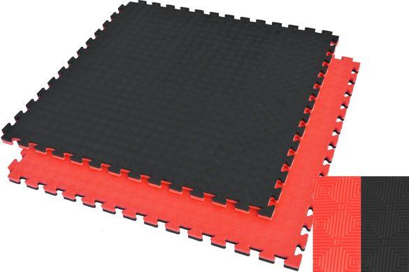 Настилка Татами - 100×100×2.5 см , Подложка Черно/Червено Puzzle Mat