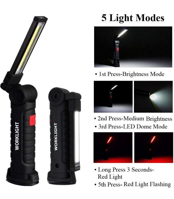 LED магнитна работна лампа COB светлина инструмент ЛЕД авто светлиник