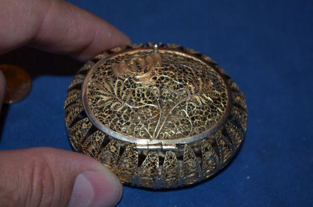 CUTIE de bijuterii ARGINT 925 aurit - Caseta -Filigram -China -Vintage