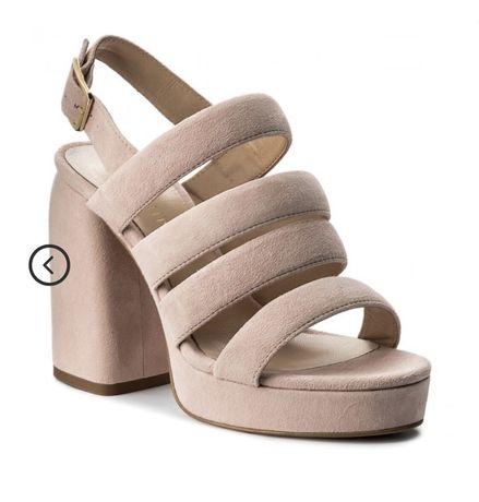 Sandale roz cu toc piele naturala 37