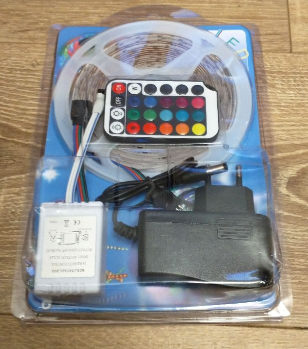 Kit Banda LED color rgb 5m cu telecomanda si adaptor priza Bucuresti - imagine 1