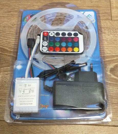 Kit Banda LED color rgb 5m cu telecomanda si adaptor priza
