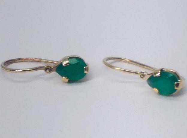 Cercei din aur de 14k cu smarald
