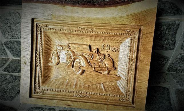 Sculptura lemn vanatoare , cai m masina vintage , cadou lemn