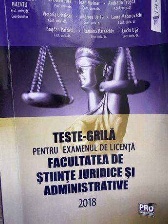 Vand carte Teste Grila pt licenta Stiinte Juridice