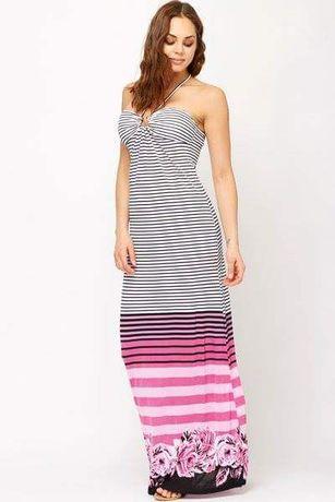 Нова дълга дамска рокля с етикет моряшко райе - размер Л L