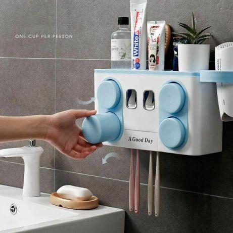 Иновативен органайзер за баня с диспенсър за паста и поставки