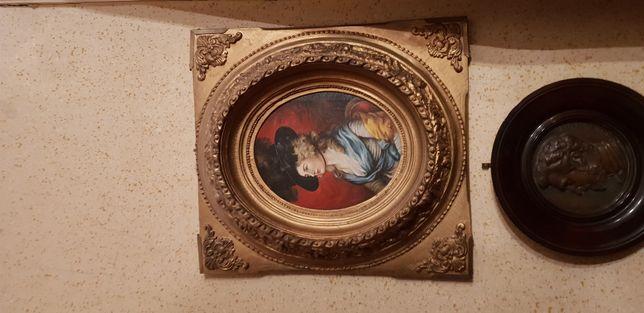 Tablou , pictura ulei pe panza antic portret semnat wolff k