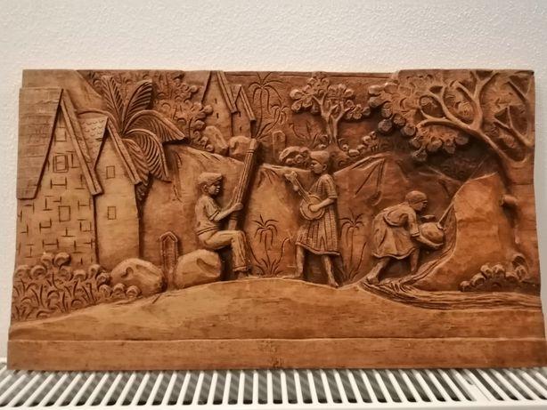 Tablou în relief, sculptura lemn 50-28,5cm