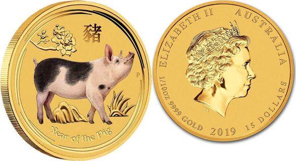 Златна монета Австралийски лунар година на Прасето 1/10 oz 2019