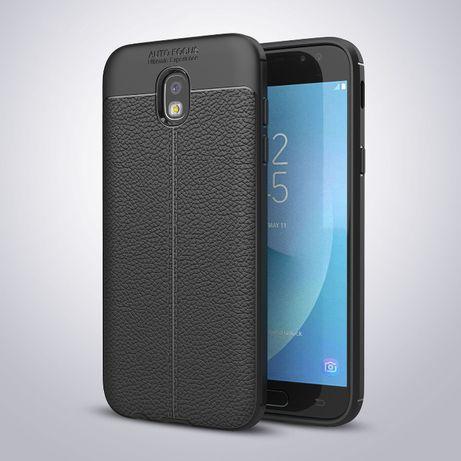 Husa Samsung J5 2017, silicon + TPU cu model piele, back cover, CaseMe