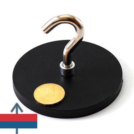 Magnet cauciucat cu carlig Neodim Oala D 88 mm forta 50kg