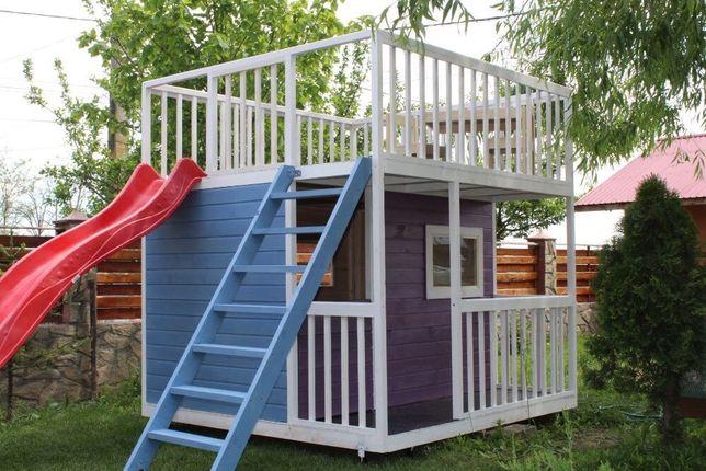 Casuta cu terasa deasupra pentru copii!