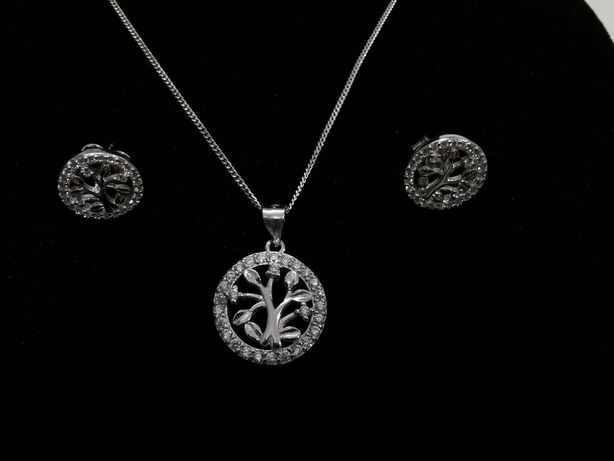 Set argint - Pomul Vietii - lant, pandantiv si cercei - cadou dama