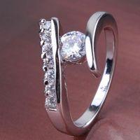 GR195,inel placat aur alb 18k, model logodna, zirconiu alb