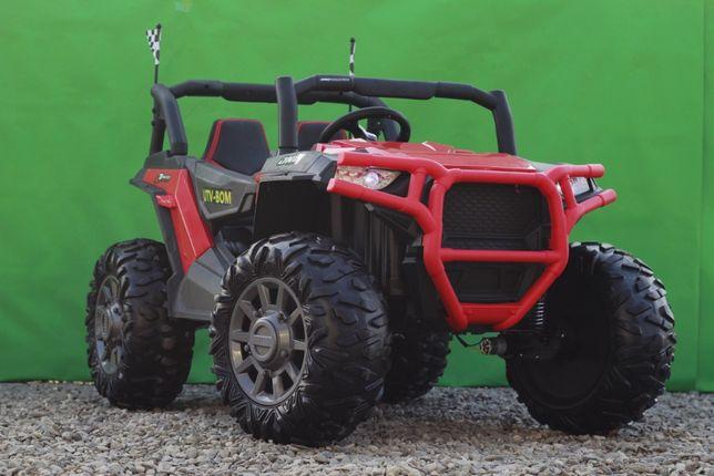 UTV electric pentru 2 copii Conquiztador 4WD 4x35W 12V 10Ah #Rosu