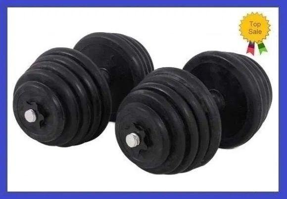 Set gantere discuri reglabile cauciucate 2 x 10 KG/Brat 20 KG SIGILATE