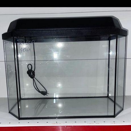 Заводской панорамный аквариум на 40 литров с подсветкой
