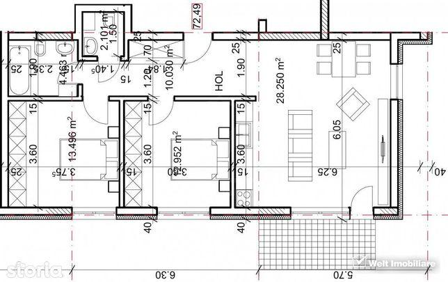 Apartament de vanzare, bloc nou, 3 camere, 72.49 mp, Andrei Muresanu