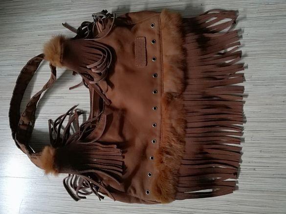 Чанта от естествен велур