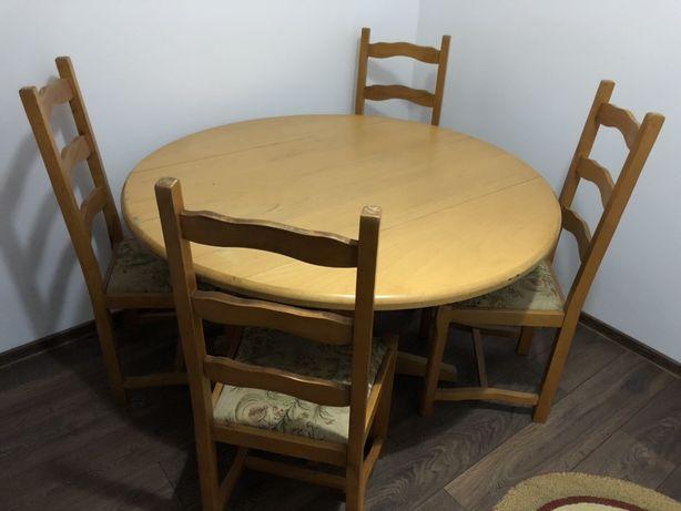 Masa lemn masiv 128cm cu 4 scaune