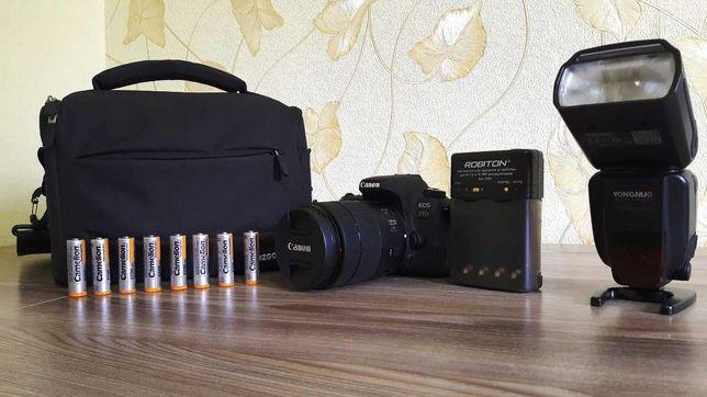 Canon 77 D в комплекте вспышка, сумка, зарядка для аккумуляторов