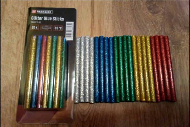 Set 20 batoane silicon colorat cu sclipici,diametru 7mm,10cm