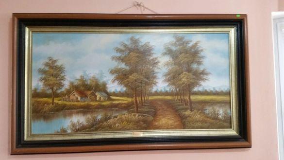 Картина златна есен 140см. на 82см. картина зимен пеизаш