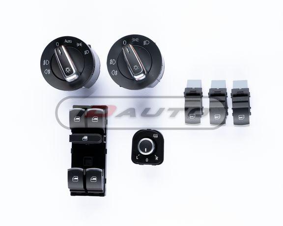 Конзола бутони копчета ,ключ за фарове хром / golf 5 6 / стъкла / vw