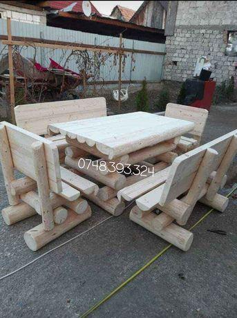 Set masa cu băncuțe scaune  lemn masiv