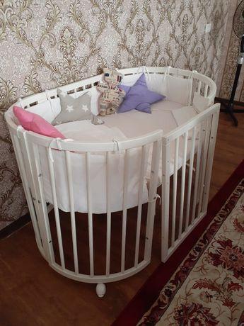 Детская кровать 5в1 в комплекте бортики, матрас постельный