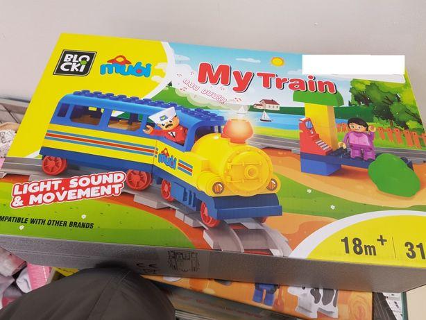 Tren cu sine lumni sunete specifice, blocuri cuplare tip lego duplo