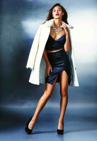 Top si fusta femei dama, phyton blue, model glam foarte sexy by Guess.