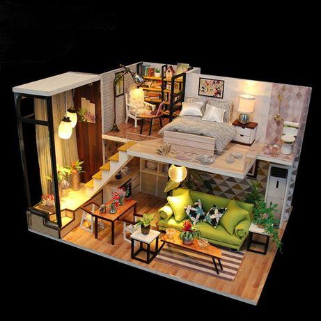 Casa de papusi Diorama din lemn 3D luminata -living+dormitor la etaj