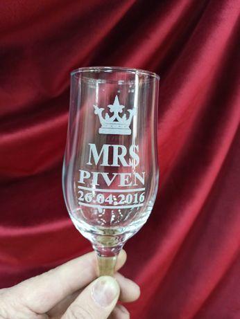 Подарочный бокал свадебные именные фужеры с лазерной гравировкой