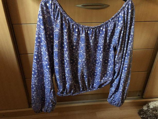 Bluza Mim stil ie, cu mandale / culoare albastru, model deosebit vara