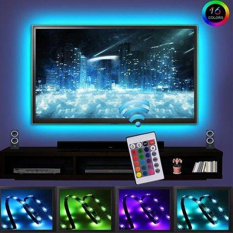 Kit iluminare ambientala  TV 3 metri bandă rgb led cu telecomanda