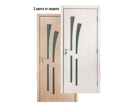 Интериорна врата със стъкло от МДФ , Златен и Избелен Дъб , в Промоция