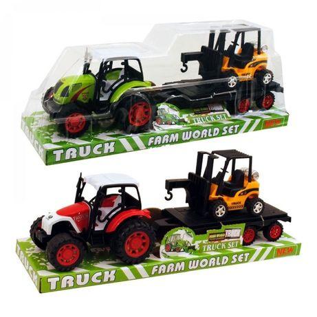 НОВО! Детски комплект инерционен трактор с ремарке