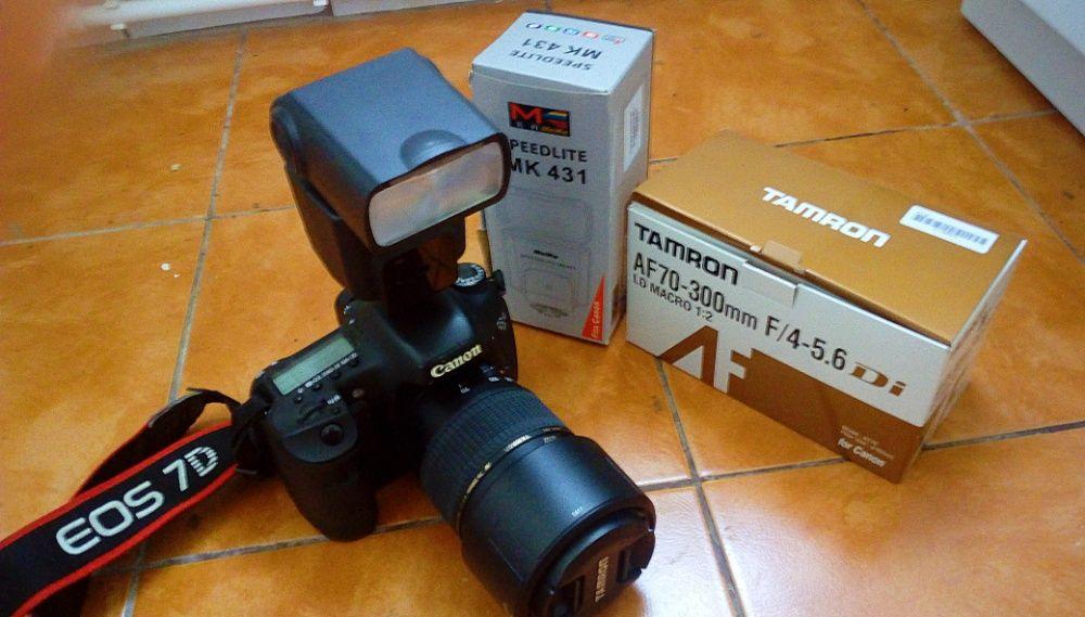 Canon EOS 7D,obiectiv 70-300+card CF 16 gb+blitz Slatina - imagine 1