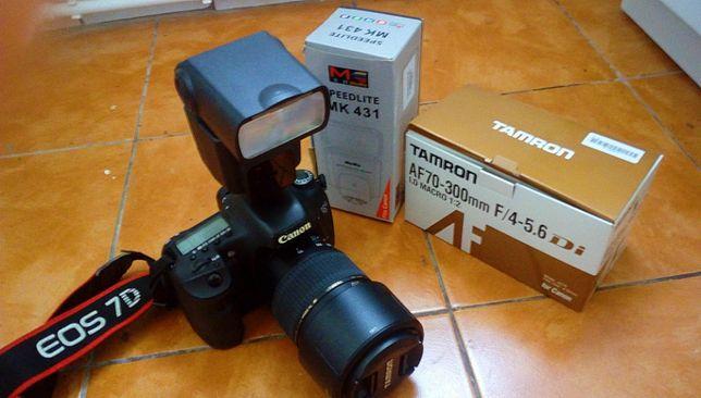 Canon EOS 7D,obiectiv 70-300+card CF 16 gb+blitz