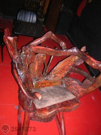 уникален люлеещ дървен стол