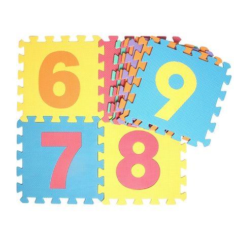 Детски мек пъзел килим за игра с плодове, животни и цифри - 10 плочи