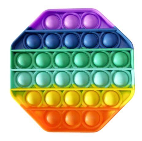 Големи Popit Rainbow OCTAGON Pop it попит осмоъгълник ДЪГА fidget игра