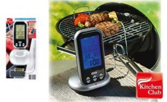 Цифров безжичен термометър за печене на месо, LCD Display, 8 програми